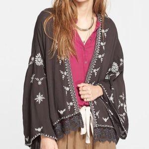 Free People Like New XS Embroidered Kimono Jacket